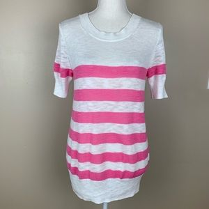 J.Crew Pink/White striped Cotton sweater. Size M.